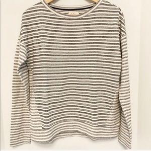 Lou & Grey Striped Sweatshirt Cream/Grey